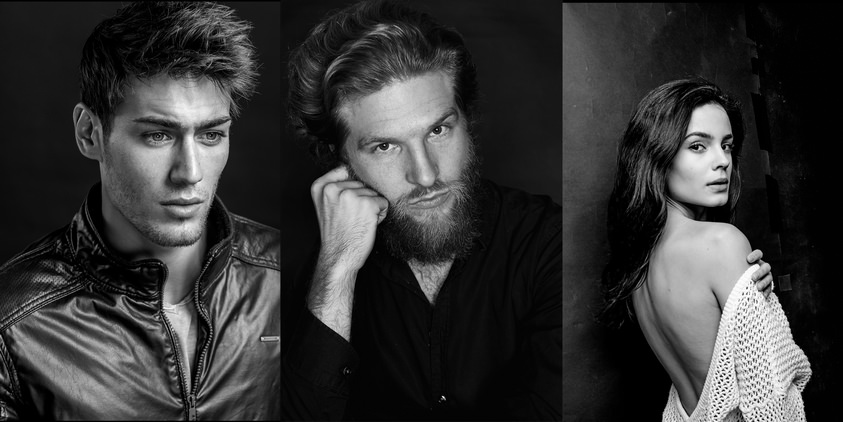 seance photo studio modele noir et blanc